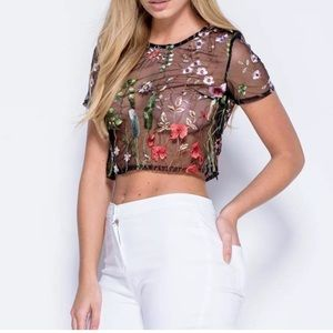 Tops - Black floral embroidered mesh crop top